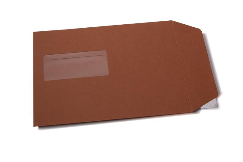 Kartonnen enveloppen met en zonder venster - Bruin