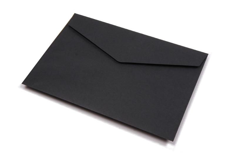 Wenskaart enveloppen met plakstrip - Zwart